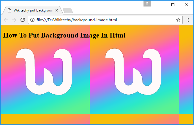 Output for set background image in HTML